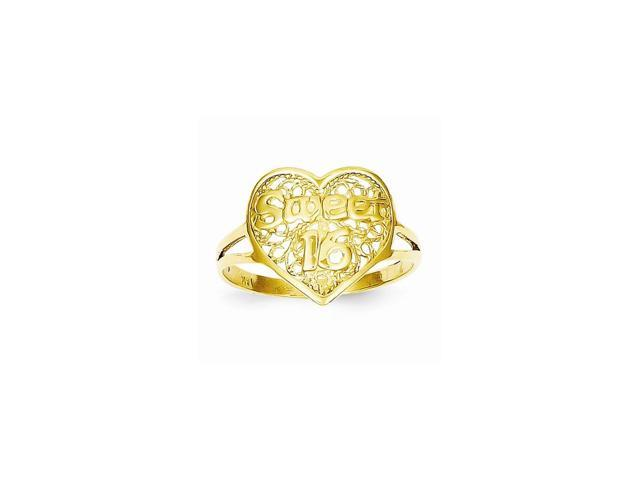 14k Yellow Gold Sweet 16 Heart Ring