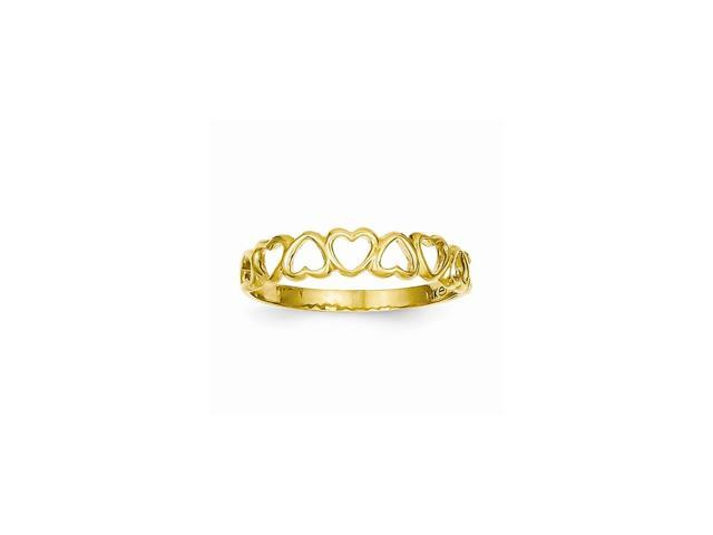 14k Yellow Gold High Polished Heart Band Ring