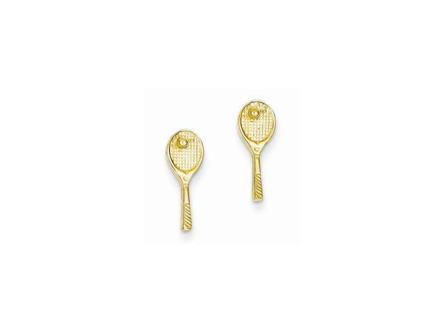 14k Yellow Gold 0.5IN Long Mini Tennis Racquet w/ Ball Post Earrings
