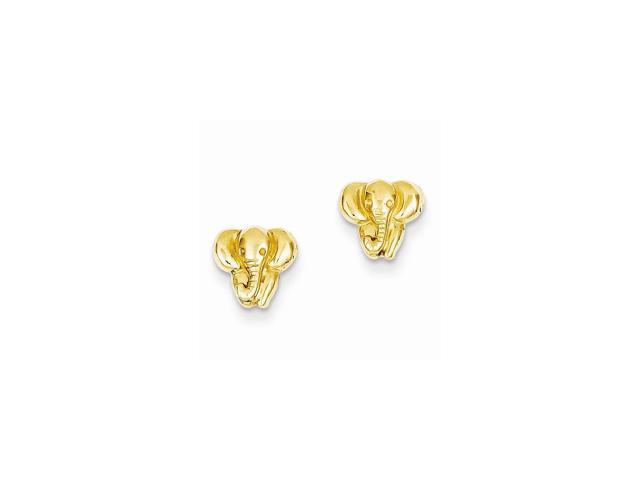 14k Yellow Gold Small Elephant Post Back Earrings (7MM)