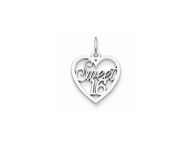 14k White Gold Sweet 16 Heart Pendant
