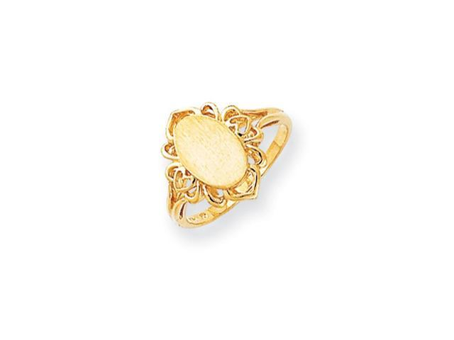 14k Yellow Gold Engravable Signet Ring (10.5mm x 7.3mm face)