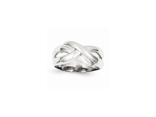 14k White Gold Polished X Dome Ring