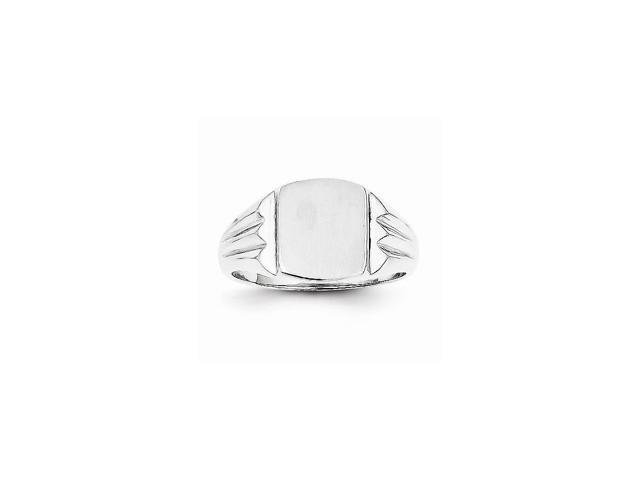 14k White Gold Engravable Signet Ring. 10mm x 8.5mm face