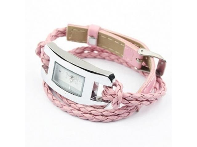 2 X Handmade Leather Bracelet Watch - Pink Color