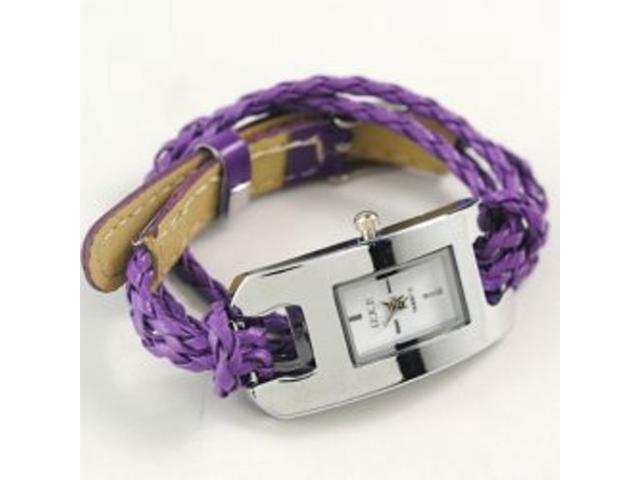 2 X Handmade Leather Bracelet Watch - Purple Color