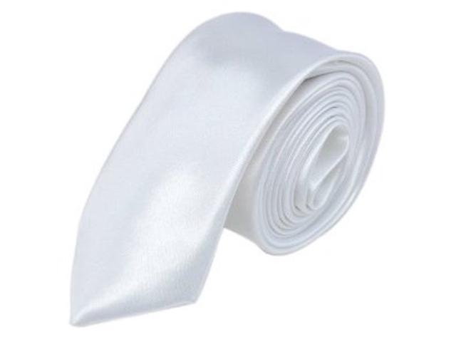 2 X Casual Stylish Slim Necktie (Skinny Tie) - White