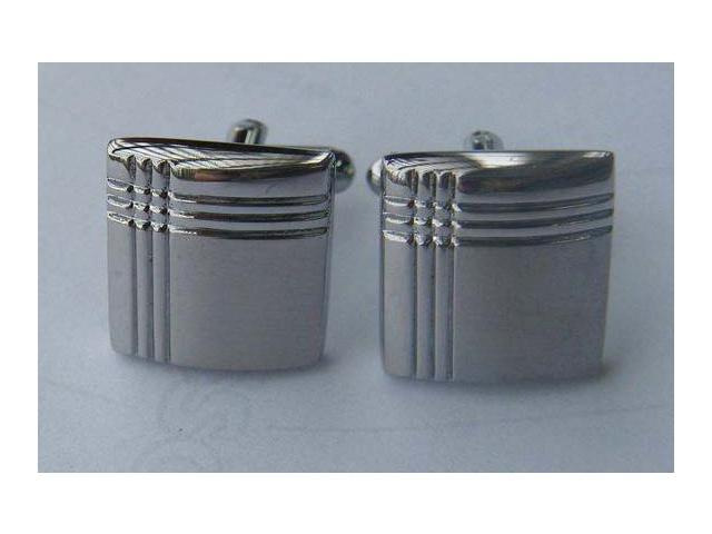 Crisscross Silver Rectangle Cufflinks
