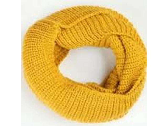 Infinity 2 Circle Cable Knit Cowl Neck Long Scarf Shawl - Yellow Color