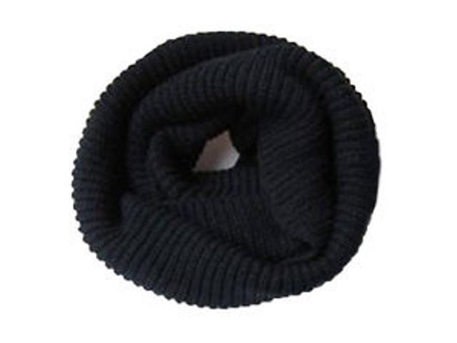Infinity 2 Circle Cable Knit Cowl Neck Long Scarf Shawl - Black Color