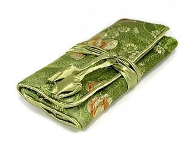 Silk Jewelry Travel Organizer - Green Color