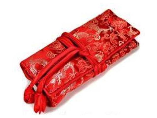 Silk Jewelry Travel Organizer - Red Color