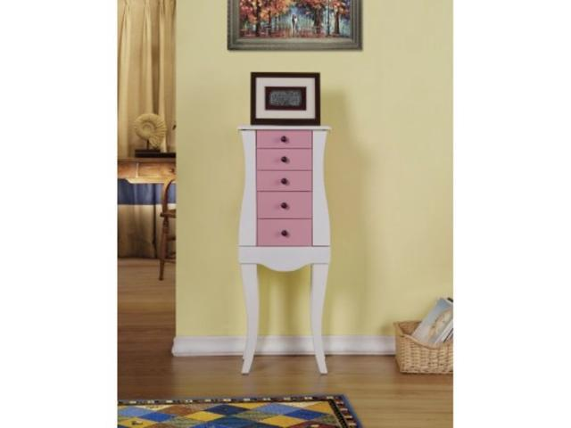 Jewelry Armoire/Cabinet/Organizer for Necklaces, Bracelets, Rings - Pink Color