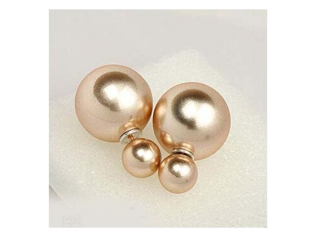 Double sided Pearl Stud Earrings - Matte Gold Color