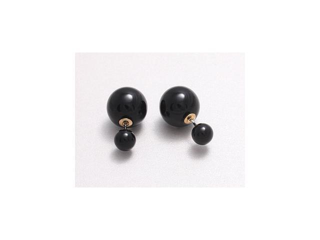 Double sided Pearl Stud Earrings - Shiny Black Color