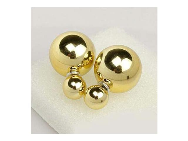 Double sided Pearl Stud Earrings - Shiny Gold Color