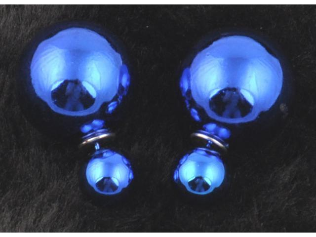 Double sided Pearl Stud Earrings - Shiny Royal Blue Color