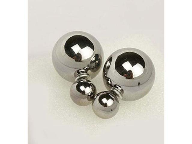 Double sided Pearl Stud Earrings - Shiny Silver Color