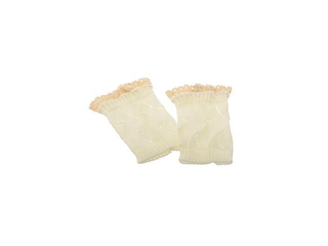 Knitted Boot Cuffs with Elegant Lace Trim - White Color