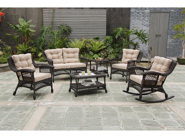 Moon Collection Outdoor Furniture, Dark Brown, Patio 6 pcs set