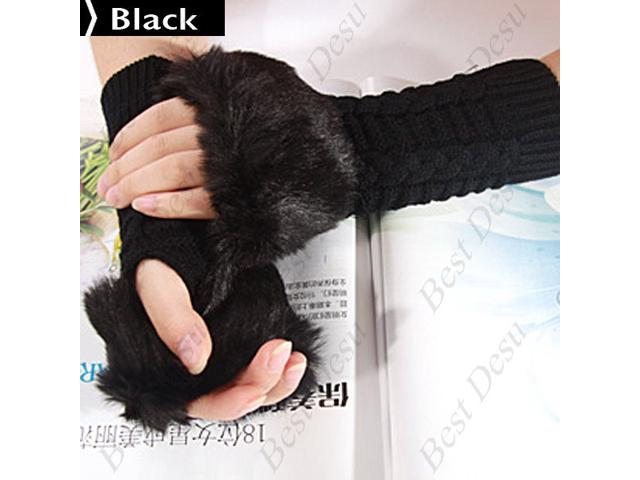 Ladies Cony Hair & Knitted Half Finger Gloves - Black Color