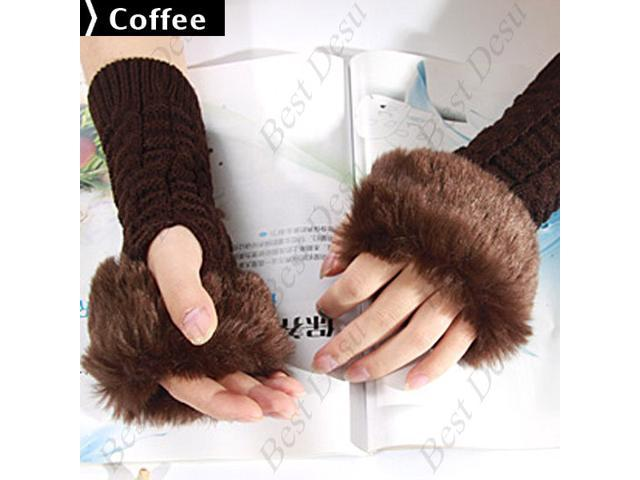 Ladies Cony Hair & Knitted Half Finger Gloves - Coffee Color