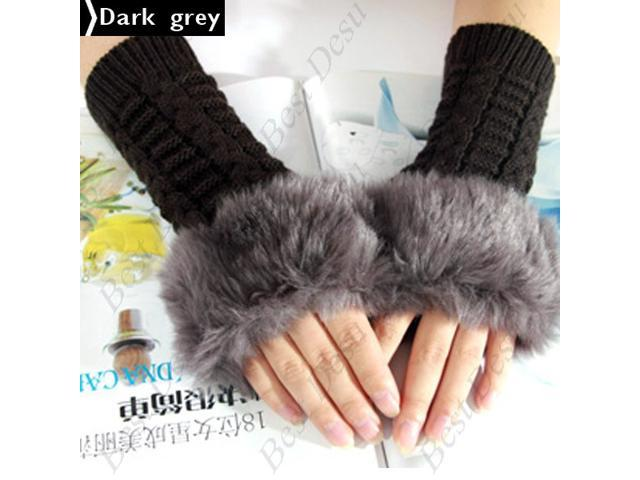 Ladies Cony Hair & Knitted Half Finger Gloves - Dark Grey Color