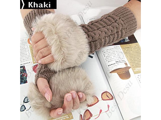 Ladies Cony Hair & Knitted Half Finger Gloves - Khaki Color