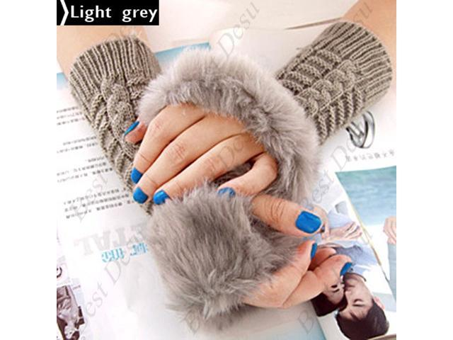 Ladies Cony Hair & Knitted Half Finger Gloves - Light Grey Color