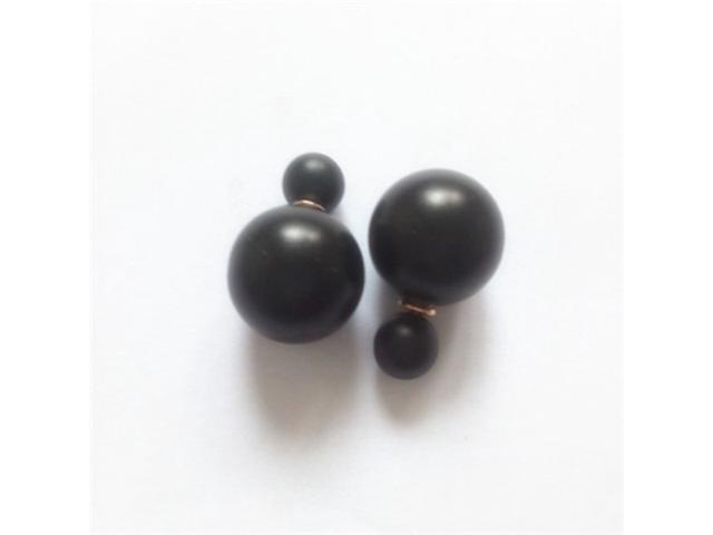 Double sided Pearl Stud Earrings - Matte Black Color