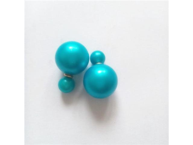 Double sided Pearl Stud Earrings - Matte Blue Color