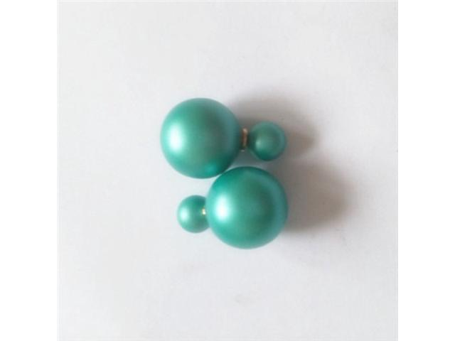 Double sided Pearl Stud Earrings - Matte Light Green Color