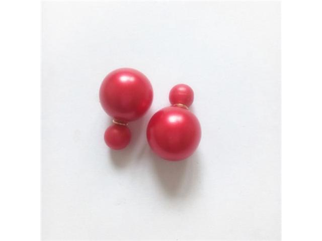 Double sided Pearl Stud Earrings - Matte Red Color