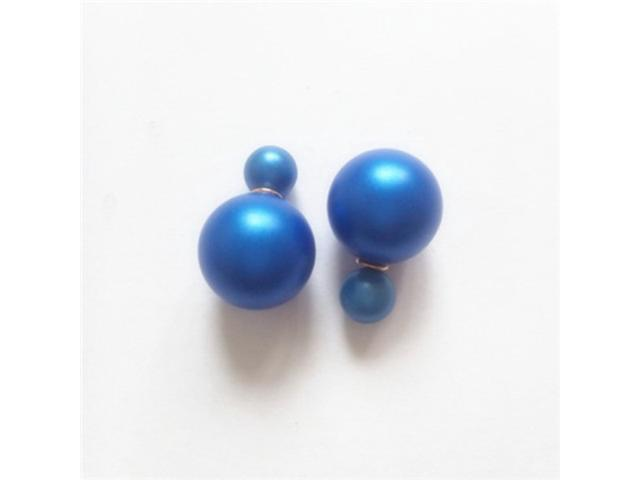 Double sided Pearl Stud Earrings - Matte Sapphire Color
