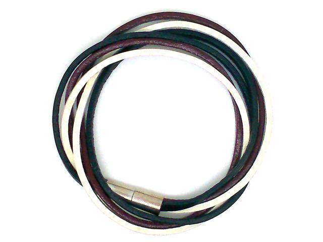 Multi Strands Leather Bracelet - Black/White/Burgundy Color