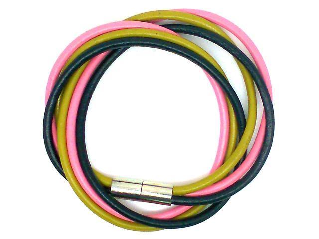 Multi Strands Leather Bracelet - Black/Pink/Yellow Color