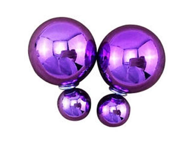 Double sided Pearl Stud Earrings - Shiny Purple Color
