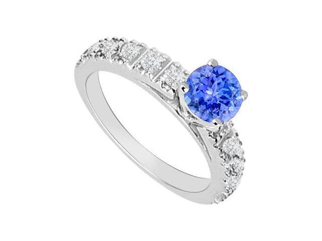 Created Tanzanite and Cubic Zirconia Engagement Rings in 14kt White Gold 1.00.ct.tgw