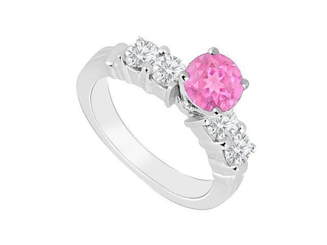 Created Pink Sapphire and Cubic Zirconia Engagement Rings in 14kt White Gold 0.90.ct.tgw