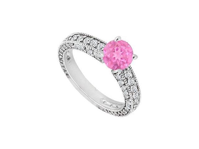 Created Pink Sapphire and Cubic Zirconia Engagement Ring in 14kt White Gold 1.50.ct.tgw