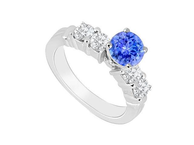Created Tanzanite and Cubic Zirconia Engagement Rings in 14kt White Gold 0.90.ct.tgw