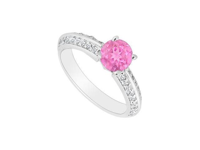 September Birthstone Created Pink Sapphire and CZ Engagement Ring 14kt White Gold 0.75.ct.tgw