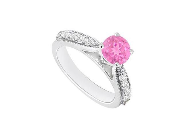 September Birthstone Created Pink Sapphire  CZ Engagement Rings in 14kt White Gold 0.80.ct.tgw