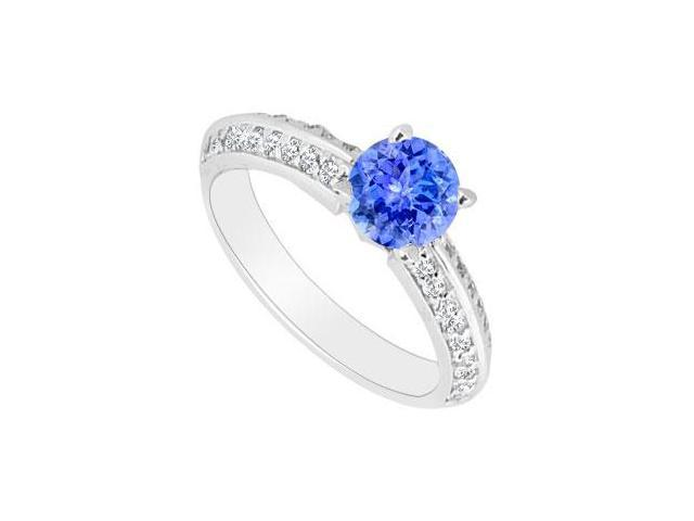 December Birthstone Created Tanzanite and CZ Engagement Ring 14kt White Gold 0.75.ct.tgw