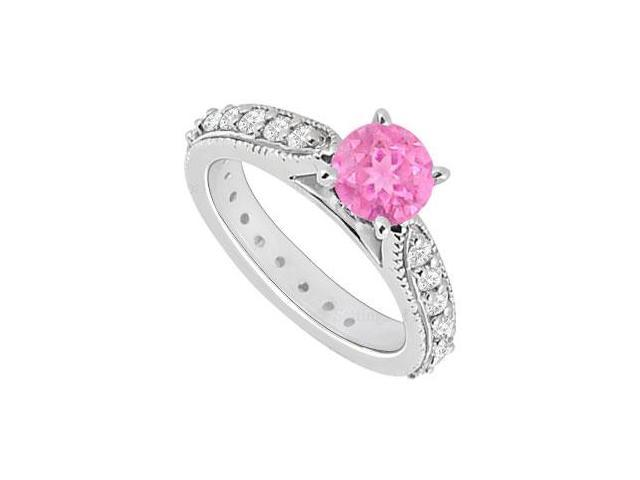 September Birthstone Created Pink Sapphire  CZ Engagement Ring in 14kt White Gold 0.85.ct.tgw