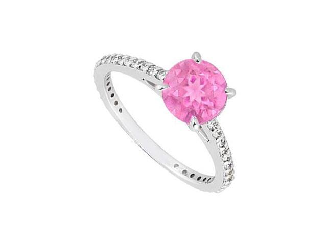 September Birthstone Created Pink Sapphire and CZ Engagement Rings 14kt White Gold 0.85.ct.tgw