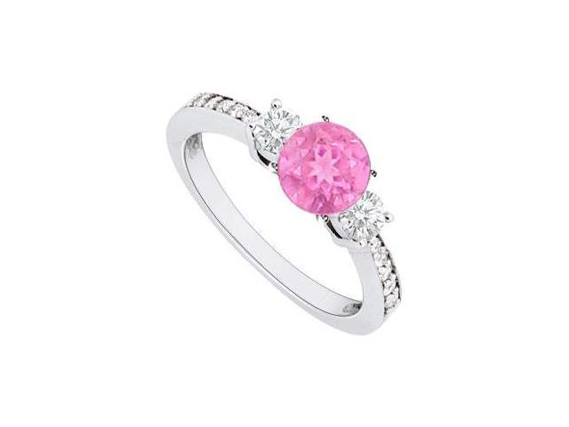 September Birthstone Created Pink Sapphire and CZ Engagement Rings 14kt White Gold 1.00.ct.tgw