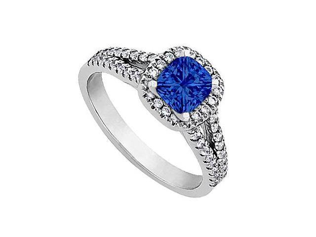 Created Blue Sapphire Engagement Ring with CZ in White Gold 14K 1 Carat Total Gem Weight