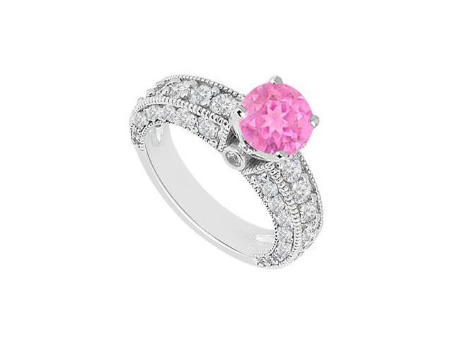 Milgrain Engagement Ring in 14kt White Gold with Created Pink Sapphire and CZ 2.00.ct.tgw