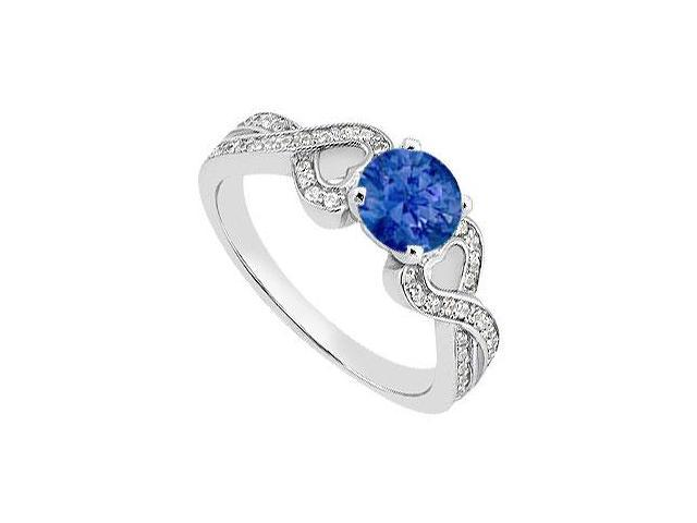 Created Sapphire Engagement Ring with CZ in 14K White Gold 1.00.ct.TGW